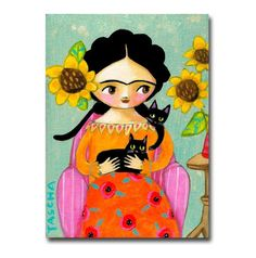 Frida with two Black Cats painting ORIGINAL acrylic by tascha Black Cat Images, Black Cats, Black Cat Painting, Frida Art, Mexican Folk Art, Whimsical Art, Art Girl, Cute Cats, Original Paintings