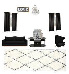 """Living room"" by jennaick on Polyvore featuring interior, interiors, interior design, home, home decor, interior decorating, Tom Dixon, Furinno, Swarovski and nuLOOM"