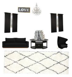 """Living room"" by jennaick on Polyvore featuring interior, interiors, interior design, home, home decor, interior decorating, Tom Dixon, Furinno, Swarovski and nuLOOM"