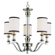 Contemporary, clean, and always in style. A 5 light chandelier draped in a fabric shade and trimmed with black. Sporty look with glass center piece and cups. F…