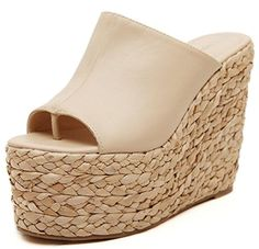 IDIFU Women's Sexy Wedge High Heels Platform Thong Sandals Slide Espadrilles Sandy Shoes Apricot 7.5 B(M) US - Brought to you by Avarsha.com
