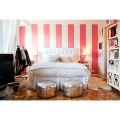 White and Pink Striped Wall - Contemporary - bedroom - Teen Vogue