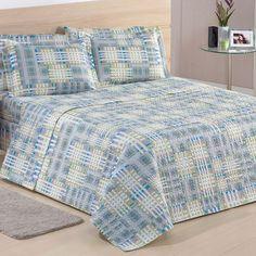 Colcha Casal Estampa Geométrica Azul + Porta Travesseiros