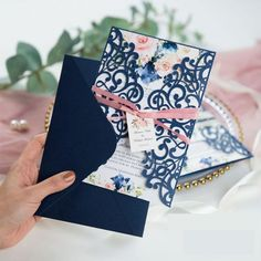 For the couple that wants to deliver flowers to their guest's doorstep, we give you Darling Bouquet. The blush blooms are set with navy details inside the navy blue laser cut wrap definitely sets a romantic tone for your wedding! Box Invitations, Acrylic Invitations, Laser Cut Wedding Invitations, Invitation Paper, Wedding Stationary, Bridal Shower Invitations, Invitation Design, Custom Invitations, Wedding Favor Boxes
