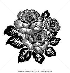 Illustration about Rose motif sketch pattern on white background. Illustration of leaf, bloom, rose - 28827294 Flower Sketch Images, Flower Sketches, Stencil Art, Stencil Designs, Line Art, Weave Shop, Rose Sketch, Flower Alphabet, Flower Rangoli