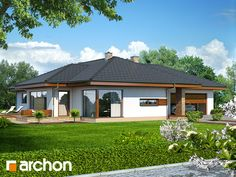 Dom w amarantusach (PD) Modern Bungalow House Plans, Bungalow Haus Design, House Plans With Pictures, Home Pictures, House Layout Plans, House Layouts, Mediterranean Homes, Modern Architecture House, Small House Design