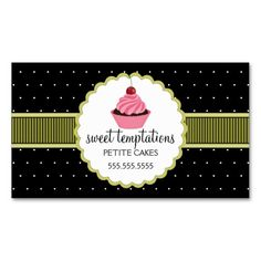 The 107 best business cards images on pinterest card patterns whimsical bakery cupcake business card fbccfo Image collections