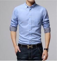 Casual Mens Dress shirts M~3XL green/red/blue