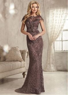 Buy discount Chic Lace Bateau Neckline Mermaid Mother Of The Bride Dresses With Beadings at Magbridal.com