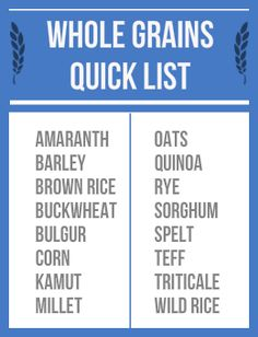 Whole Grains List