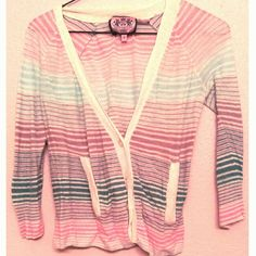 """SALE Juicy Couture Striped Cardigan Was $20. On sale for $15. Lightly used. Retails for $120! Cream colored with blue and pink stripes. Length 23"""" Bust 36"""" Waist 40"""" Juicy Couture Sweaters Cardigans"""