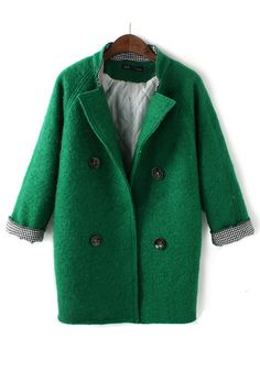 ++ green plain turndown collar double breasted wool coat