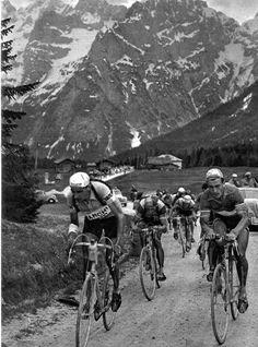 Giro d'Italia 1951. Fausto Coppi (19191-1960), Ferdi Kübler (1919) e Louison Bobet (1925-1983)