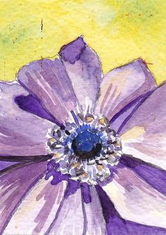 Watercolor ACEO  Anemone by Kitty69 on Etsy, $8.00
