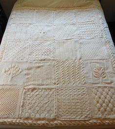 kolordances Eternity Afghan Ravelry Counterpane Bedspread Knit White Natural Ecru Cream