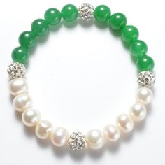 Potato White Pearls and Green Malaysia Jade Stretch Bracelet with Shiny Rhinestone Spacer Beads Dainty Bracelets, Stretch Bracelets, Handmade Bracelets, Sterling Silver Bracelets, Beaded Bracelets, Pearl Necklaces, Jewelry Necklaces, Freshwater Pearl Bracelet, Pearl Jewelry