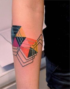 Different Color Geometric Tattoo