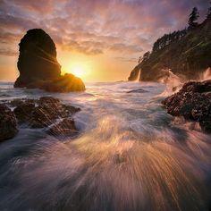 Oregon, Coast, Sunset, Unique, Wave, Waterfall
