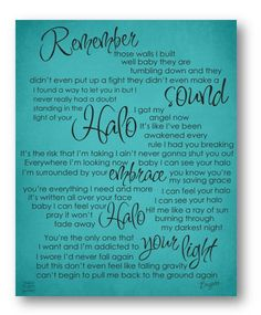 Halo / Beyonce / Lyric / DIGITAL Typograpy Poster / Printable