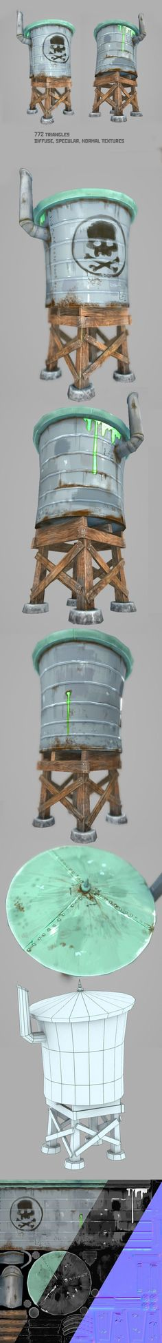 Water Tower by Denelighte Ready for game lowpoly textured model with optimazed mesh and UV Game Environment, Environment Concept Art, Prop Design, Game Design, 3d Design, 3d Cinema, Polygon Modeling, Low Poly Games, Game Textures