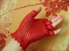 Crocheted fingerless gloves red lace cotton by crochetize on Etsy