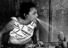 Larry Towell, Managua, Nicaragua, A woman takes a break from hand-washing laundry in a sink to cool off her parrot on a blistering summer day, 1984
