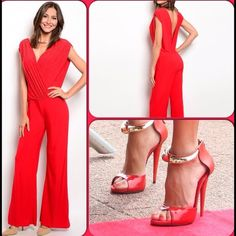 Red Iridescent Jumpsuit/Last One This gorgeous jumpsuit features tiny iridescent accents on front panel. See close up pic. Criss cross design, comfortable stretch material, 96% Polyester, 4% Spandex. Super price! This closet does not trade or use PayPal) Glamazon Pants Jumpsuits & Rompers