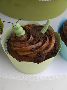Worm cupcakes for a boy's bug party.  ...except that this one appears to be half caterpillar & half worm... yes it matters :P