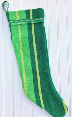 Green Striped Vintage Towel Stocking by JabberDuck on Etsy, $25.00