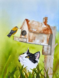 Birdwatching For Cats My cat Sarah used to think she was quite the birder.  Watercolor painting by Lynda Nolte