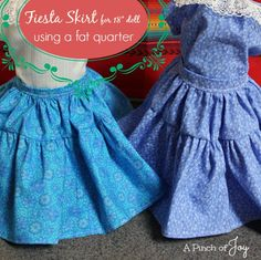 Fiesta Skirt for 18 inch doll using a fat quarter of fabric