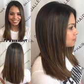 Fashion:Balayage straight hair brunette surprising women s sleek cut with subtle layers and medium Haircuts For Long Hair With Layers, Medium Length Hair Cuts With Layers, Haircuts For Wavy Hair, Long Layered Hair, Medium Hair Cuts, Layered Haircuts, Bob Hairstyles, Medium Hair Styles, Straight Hairstyles