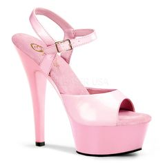 b9c3219b2cf0 All pink sandals with a classic look and dazzling high 6 inch cm) stiletto  heels. The top part features a wide toe strap and two thin side straps  which ...