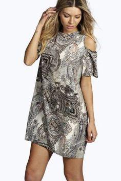Adina Open Shoulder Paisley Shift Dress