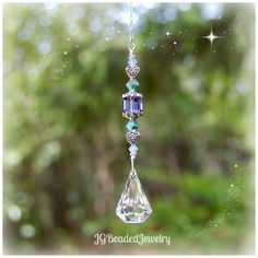 Unique Celtic heart Swarovski crystal suncatcher for the rearview, window or ceiling light pull. JGBeads.com #Swarovski #Crystals #Suncatchers