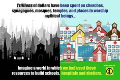 I think about this all the time. I live in a small town and we have AT LEAST 40 churches! And they're huge will LED screens! Why can't we use the money we've spent on that to help people or animals?? Seriously!