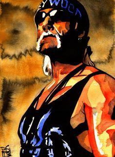Hulk Hogan - Ink and watercolor on x watercolor paper Wrestling Posters, Wrestling Wwe, Wwe Hulk Hogan, Chris Benoit, World Championship Wrestling, Eddie Guerrero, Sheamus, Ric Flair, Caricatures