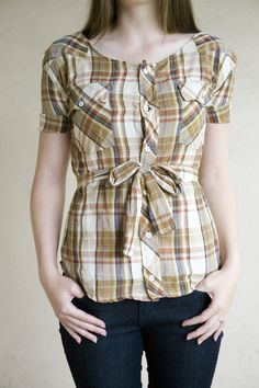 cola cola island: plaid rehab. Upcycled men's shirt becomes belted blouse.