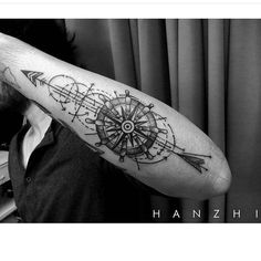 """Custom design for him,wheel-Compass-arrow design Done by @tattoohanzhi  #bloodyink #blacktattoo #blackandgrey #tattoos #tattookl #tattooartist #tattooist…"""