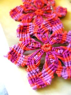 Red Magenta and Pink Starburst Macrame Hemp by TheHempButterfly, $18.00
