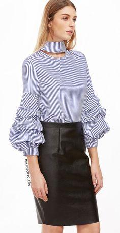 Blue Vertical Striped Cutout High Neck Billow Sleeve Blouse