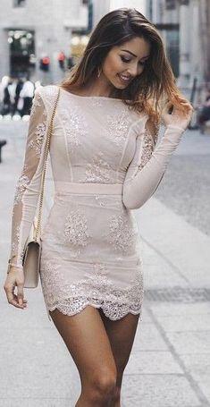 Nude Lace Little Dress Source  fashion damen add ootd Roztomilé Oblečenie 1a3e6611cd5
