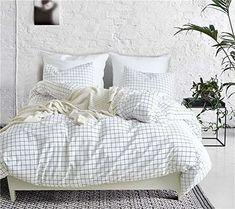 62a03fe2800 WINLIFE Simple Grid Bedding Set For Boys   Girls Grid Duvet Cover Bedding  Shop