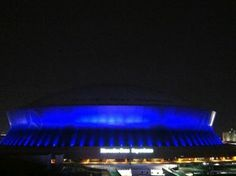The Mercedes-Benz Superdome lit up in blue to honor fallen police officers. Repin to show your support.  Credit: Darren / Eyewitness