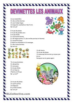 DEVINETTES LES ANIMAUX French Language Lessons, French Lessons, Core French, French Class, French Teacher, Teaching French, How To Speak French, Learn French, Animal Worksheets