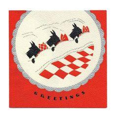 1930s Three Sleeping Scottie Dogs, Silver Embossed Vintage Christmas Card