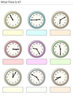 Actividades para niños preescolar, primaria e inicial. Plantillas con relojes analogicos para aprender la hora diciendo que hora es. Que hora es. 11