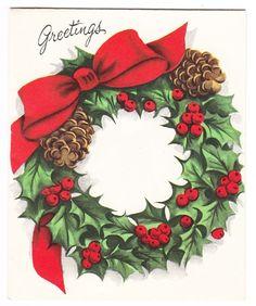 Vintage Christmas Wreath with Pine Cones Pollyanna Greeting Card   eBay