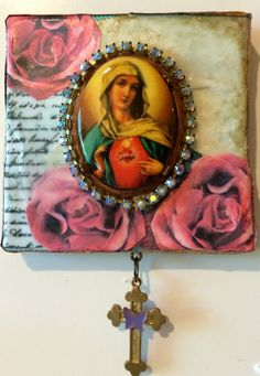 Virgin Mary art - collage on canvas - roses and blues - vintage large cabochon of the Virgin Mary - hanging cross with butterfly - religious by DianaDDarden on Etsy