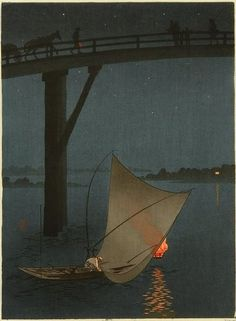 FISHING BOAT FROM NIGHT SCENE SERIES BY YOSHIMUNE. A wonderful sense of peace and quiet plus an outstanding handling of the fire light from the boat!! #woodblock #prints SEE MORE ART NOW www.richard-neuman-artist.com
